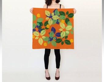 Leaves silk scarf (orange)