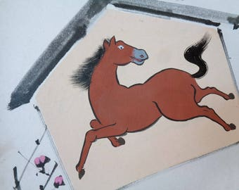 VJ529 :Painting on a shikishi board , Old Japanese watercolor/ink painting on a shikishi board ''Ema with horse'',Artist sign