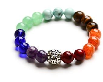 7 CHAKRA BRACELET 10mm Healing Gemstones - Yoga - Spiritual Jewelry - Gift Women