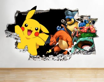 Q135 Pokemon Characters Cool Pikatchu Smashed Wall Decal 3D Art Stickers  Vinyl Room Kids Baby Nursery