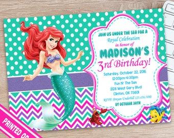SALE 50% - Little Mermaid Invitation - The Little Mermaid Invitation - Little Mermaid Birthday Outfit - Little Mermaid Birthday Party