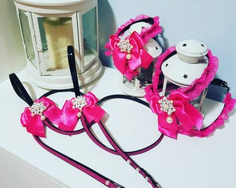 Black leather harness with organza bow and jeweled brooch. Matching leash