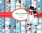CHRISTMAS sale DIGITAL PAPER pack Snowman paper set 12x12 digital paper commercial use Snowman scrapbook paper Christmas wrapping gift paper