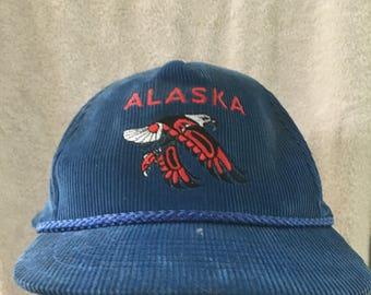 Vintage Blue Corduroy Alaska Native American Eagle Tourist Snapback Cap Hat