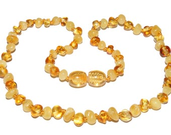 Genuine Baltic Amber Baby Teething Necklace Lemon / Butter