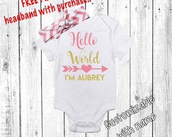 Hello World Newborn Outfit, Baby Girl, Baby Girl, Newborn Girl Outfit, Baby Girl Coming Home Outfit, Baby Girl Going Home Outfit, Pink