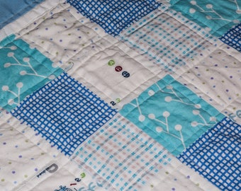 Handmade Baby Quilt in blue plaids, aqua, and dots