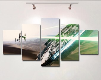 Star Wars poster Millennium Falcon canvas spaceship wall art print painting wall hanging home decor High Quality 5 piece set birthday Gift