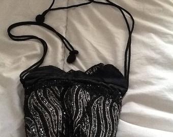 Vinted black beaded handbag