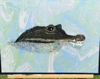 Crocodile hand painted, hand drawn, hand marbling