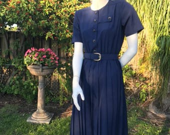 Vintage secretary dress from the 80s navy