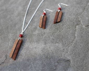 Wood Necklace & Earring Set Minimalist Jewelry Jasper Earrings Necklace Wood Jewelry Handmade Natural Gift for Her Healing Stone Natural