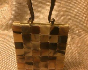 Vintage tortoise lucite tile purse