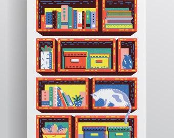 Shelves with Cat A4/A3 Giclée Print