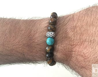 Eye Tiger and with piece of Tibetan silver turquoise beaded bracelet