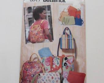 Woman's Totebag, Backpack, Zip Pouch, Purse, Butterick 6043 - Uncut