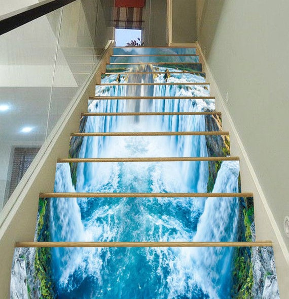 3d huge waterfall 6 staircase stairway stairs risers stickers for Waterfall design etsy
