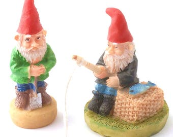 Active Garden Gnomes for Fairy Gardens and Dolls Houses
