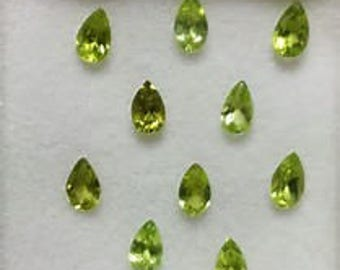 10  pieces natural peridot  pear shape faceted  gemstone calibrated size