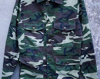 Vintage 70s SEARS Camouflage Button Up Hunting Jacket Size Extra Small
