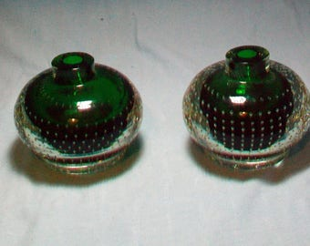 Pair Erickson Green Cased Controlled Bubble Candle Holders