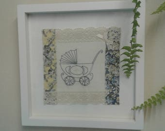 Unique, textile art hand made picture for a new baby
