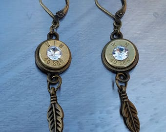 Antique Bronze Bullet Earrings with Clear Swarovski Crystals and Feathers