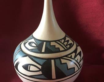 Indian pottery Jemez Pueblo signed by Mary Rose Toya, Southwestern Pottery, Southwestern art.