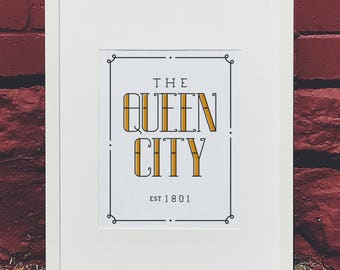 Queen City Hand Lettered Wall Art