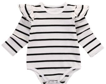 Striped Long Sleeved Onesie Romper