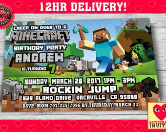 Mine Themed Birthday Invitation with FREE Thank you card! (Not an Official Minecraft Product)