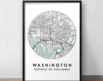 Washington DC City Print, Street Map Art, Washington Map Poster, Washington Map Print, City Map Wall Art, Washington Map, Travel Poster, US