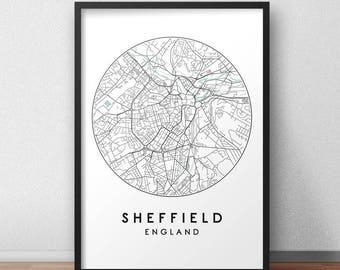 Sheffield City Print, Street Map Art, Sheffield  Map Poster, Sheffield Map Print, City Map Wall Art, Sheffield Map, Travel Poster