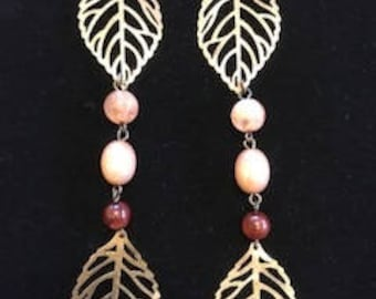 Long Leaf Drop Earrings