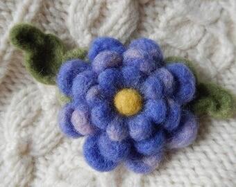 Triple Purple Blossom Brooch - needle felted