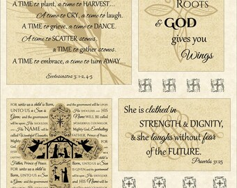 Timeless Treasures Abundant Grace Year of Faith Wing and A Prayer Panel in Latte Cotton Fabric