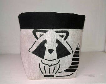 Storage basket fabric raccoon