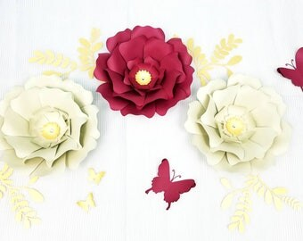 Paper flowers wall decor. Large red flowers wall decor. Nursery flowers wall. Wedding backdrop. Baby shower backdrop. White paper flowers.