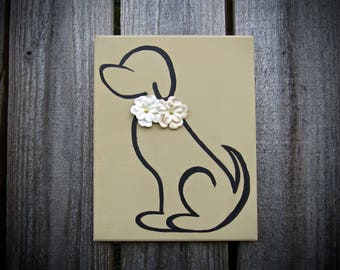 Dog Silhouette 8x10 Wood Plaque