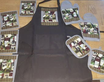 Wine Kitchen Set Apron, Mug Rugs, Oven Mitts, Pot Holders