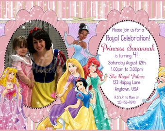 Disney Princess Birthday Invitation with Childs Photo/ 6 Different Princesses and Your childs Photo Custom invitation