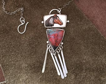 Sterling Silver Necklace with Sonora Sunrise Gemstones and  scrimshaw horse on fossil ivory.