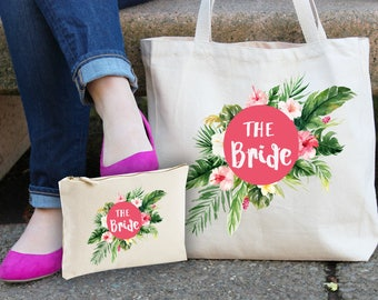 Bride tropical print make up bag & tote gift set - bride bags - tropical bride bag - bridal party - bridal shower totes - bridesmaid gifts