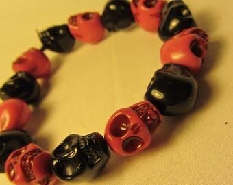 Pink and Black Skulls Beaded Stretchy Bracelet