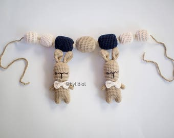 Crochet Bunny Rabbit Car seat toy Baby accessories Easter