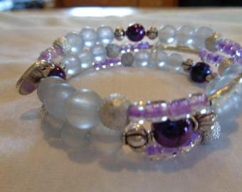 Lavender and Silver Memory Wire Bracelet