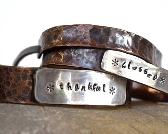 Custom Copper Cuff, Copper Cuff with Sterling Silver, Stamped Copper and Sterling Cuff, Metal Stamped Custom Message