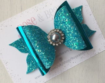 Turquoise blue mermaid double layer glitter hair bow