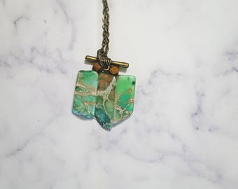 Charged Marbled Stones on antique bronze chain