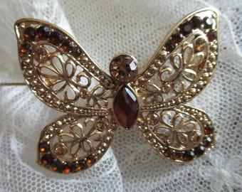 Vintage Costume Jewelry Butterfly Brooch, Gold Tone, Multi Colored Stones FREE SHIPPING